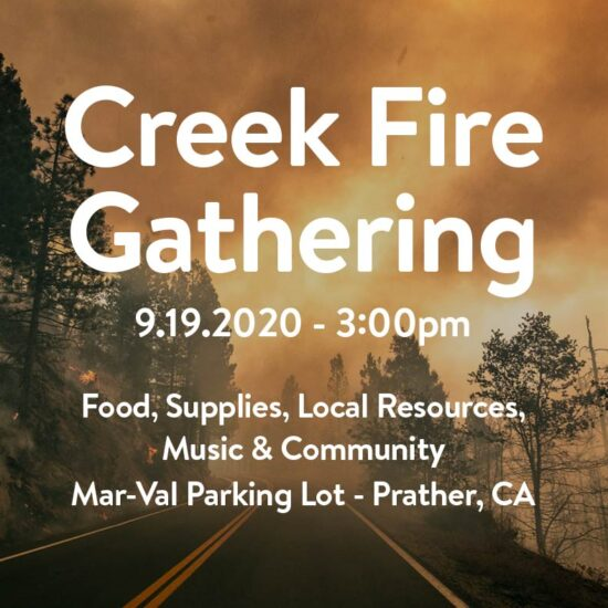 Creek Fire Gathering on September 19th at 3:00pm