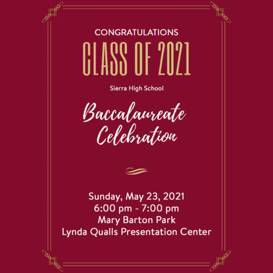 Baccalaureate May 23 at 6:00 p.m.